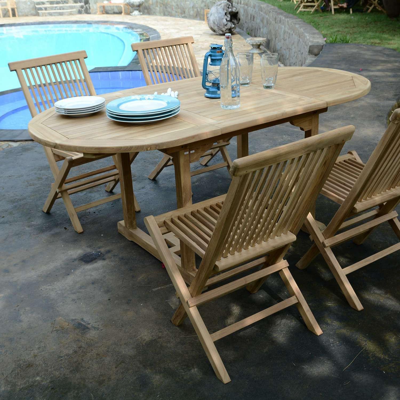 Salon de jardin en teck Ecograde© Hawai, table extensible 1 ...