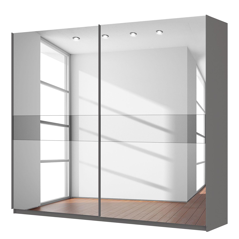 Armoire à portes coulissantes Skøp - Gris graphite Miroir en verre / gris -  270 cm