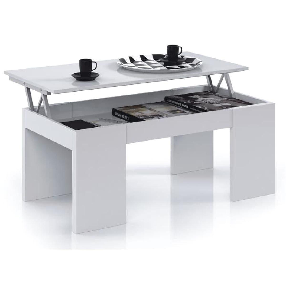 LEVI Table Basse Rectangulaire Relevable Laqu E Blanc Tables Avec …