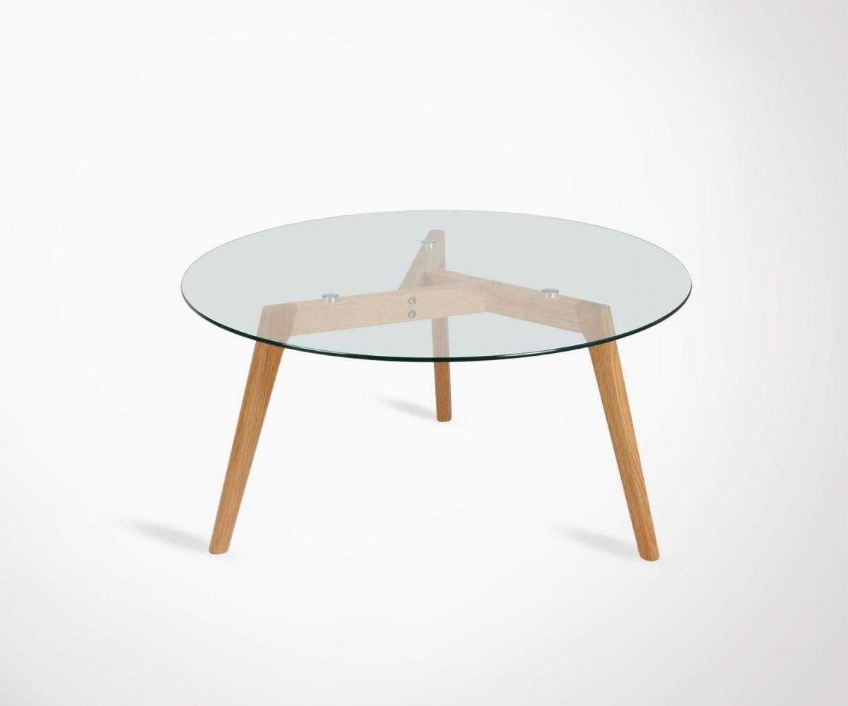 revendeur 48a59 50bd1 Table basse 80cm ronde plateau verre pieds bois style scandinave