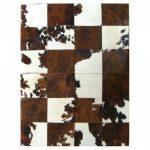 Tapis peau de vache patchwork marron et blanc 120x60