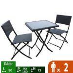 Ensemble de table et 2 chaises de jardin KIOSQUE Wilsa